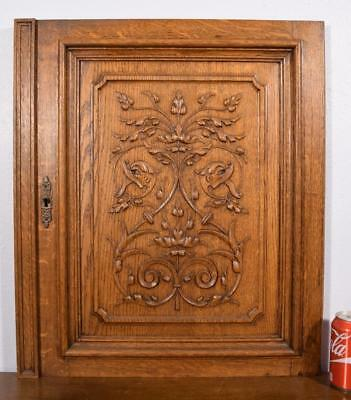 French Antique Gothic Revival Panel/Door with Griffin in Solid Oak Wood