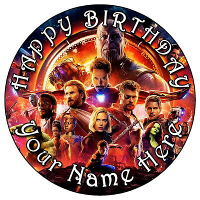 """Avengers Infinity War Party - 7.5"""" Personalised Edible Icing Cake Topper (2)"""