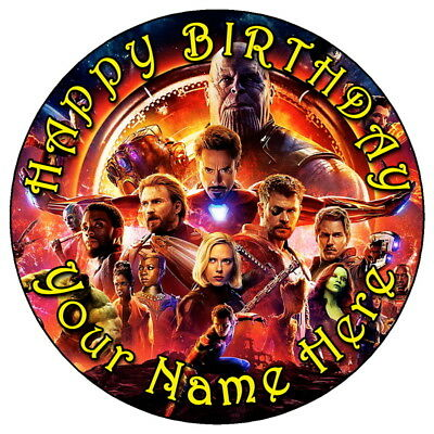 """Avengers Infinity War Party - 7.5"""" Personalised Edible Icing Cake Topper (3)"""