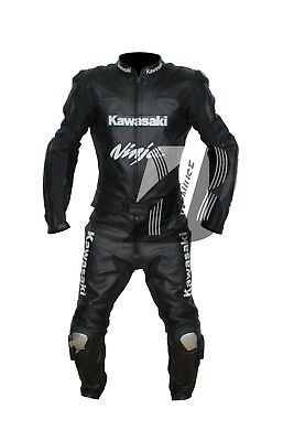 Motorbike Racing Black Leather Suit Ce Approved Protections