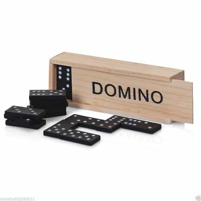 Dominoes Traditional Set Board Game Classic in A Wooden Box 28 Piece Kids Fun To