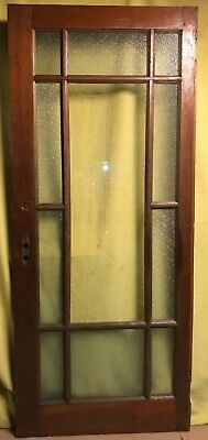 Antique 11 Pane Wood Interior French Door /w Frosted Glass & Hardware!