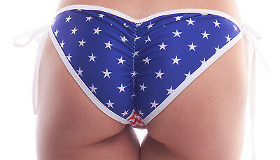 BodyZone Patriotic Stars and Stripes Print Tie Side Bottoms. O/S. Made in USA.