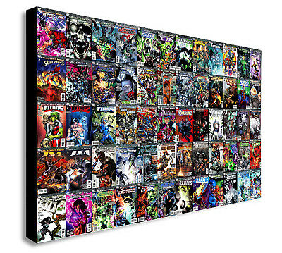 DC COMICS - SUPER HERO COLLAGE Canvas Wall Art Framed Print - Various sizes