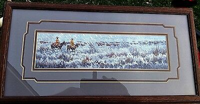 Painting by Navajo Calvin Toddy Original Signed Cowboys on the Range in the snow
