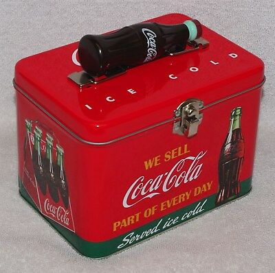 """Coca-Cola Train Case / Lunch Box Tin """"we Sell Coca-Cola Part Of Every Day"""" New!"""