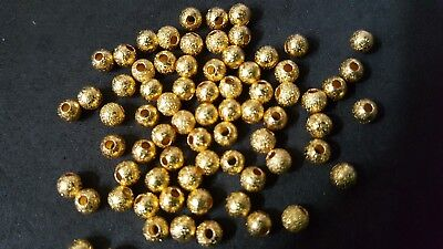 70pcs 4mm gold plated stardust beads GP ball spacer lead/nickel safe findings