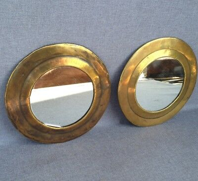 Pair of antique french circular mirror brass repousse early 1900's marine