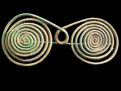 Very Rare Ancient Bronze Age Spectacle Brooch 700-800 A.d Very Large