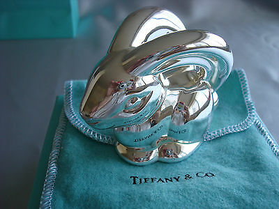 TIFFANY sterling silver ~NEW IN BOX~ BABY BUNNY RABBIT RATTLE box,pouch,card,bag