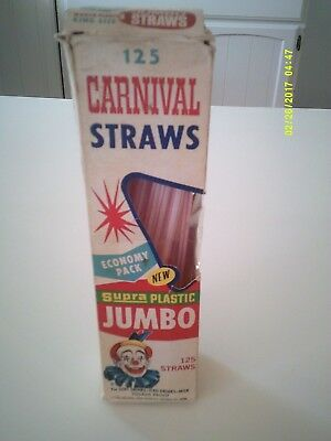 Vintage 1968 CARNIVAL STRAWS Jumbo Size Partial Box Scoopy The Clown