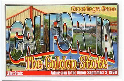 Greetings from california the golden state flag modern large greetings from california large letter postcard 31st state m4hsunfo Gallery