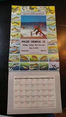 Vtg  ORIGINAL  CALENDAR TOP SALESMAN SAMPLE   GAME FISH PARADE  #100