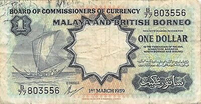 Malaya & British Borneo 1 Dollar, 1959, Circulated
