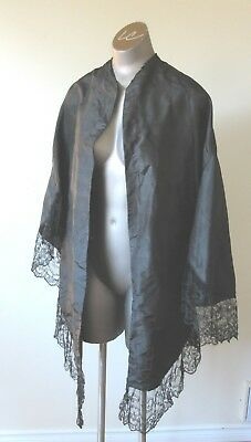 Antique Victorian Black Silk w Cotton Lining Lace shawl
