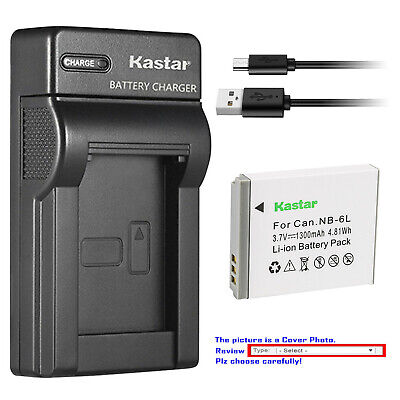 Kastar Battery Slim Charger for Canon NB-6L NB6LH CB2LY Canon PowerShot SX530 HS