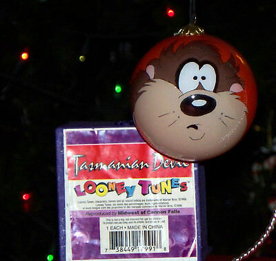 Warner Brothers Looney Tunes Taz Hand Painted 1996 Glass Christmas Ornament