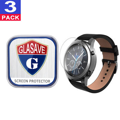 (3 Pack) GLASAVE Tempered Glass Screen Protector For Samsung Gear S3 Classic