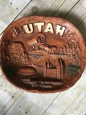 "State UTAH  decorative plastic 3d  Souvenir Plate 10"" wide 11.5"" long"