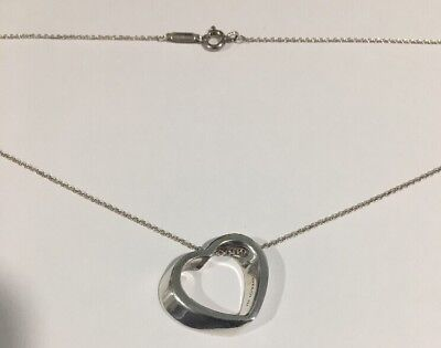 """Tiffany & Co. Sterling Silver Slanted Open Heart Pendant Necklace With 16"""" Chain"""
