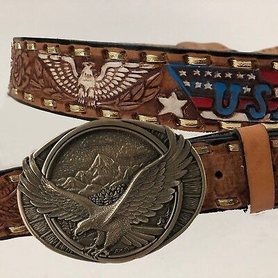 VTG Leather Eagle USA Hammered Cowboy Western Jeans Belt & Brass Buckle Mexico