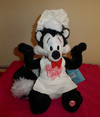 Hallmark Looney Tunes Pepe Le Pew Kiss Zee Chef Valentine's Day Talking Plush