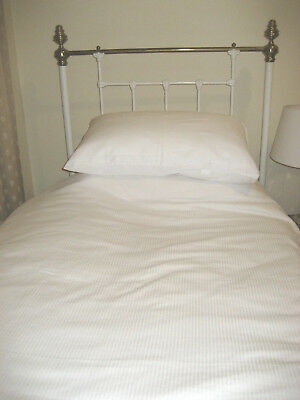 White painted Cast iron  and brass single bed