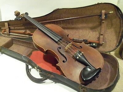 Old Vintage Antique Violin,full Size Violin With Case, And 2 Bows