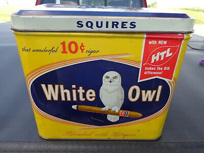 White Owl Squires, Vintage 10 Cent Cigar Tin, Bright Graphics, Clean, Nice