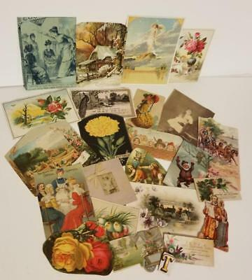 21 pc Antique Victorian scrap pieces picture clippings trade card ephemera lot T