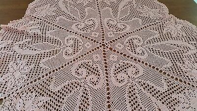 Vintage 20s 30s PINK Hand Crochet DAFFODIL Floral Lace TABLECLOTH Centre Piece