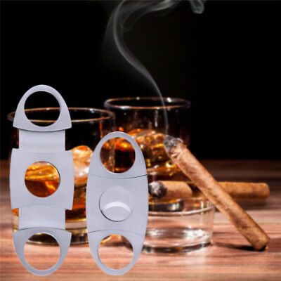 Portable Stainless Steel Double Blades Steel Cigar Cutter Scissors Sliver NEW