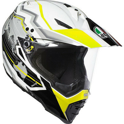 AGV NEW AX-8 Dual Evo Earth White Black Flo Yellow Adventure Off Road Helmet