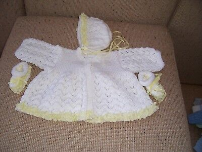 NEW HAND KNITTED BABY JACKET BONNET & booties with lace edge 3-6 MONTHS APP