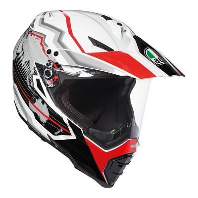 AGV NEW AX-8 Dual Evo Earth White Black Red Adventure Off Road Dual Sport Helmet