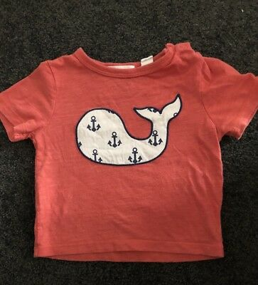 Country Road Baby Boys Red Whale 🐳 T-shirt Tee Short Sleeve Top Size 00