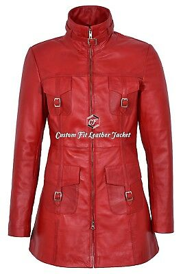 MISTRESS Leather Jacket Red Gothic Style 100% REAL SOFT LAMBSKIN Coat 1310