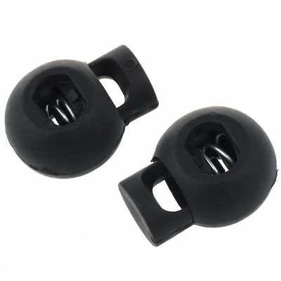 2X(10 PCS Black 6mm Dia Single Hole Round Head Spring Cord Locks Toggles J4R3)