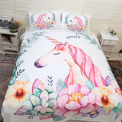 Unicorn Doona/Quilt/Duvet Cover Set Single/Double/Queen/King Size Bed Pillowcase