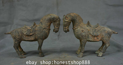 """8.2"""" Old Chinese Bronze Dynasty Feng Shui Stand Tang Horse Luck Sculpture Pair"""
