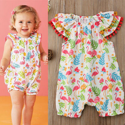 Kids Baby Girl Clothes Flamingo Romper Jumpsuit Outfits Sunsuit 1T 2T 3T 4T 5T