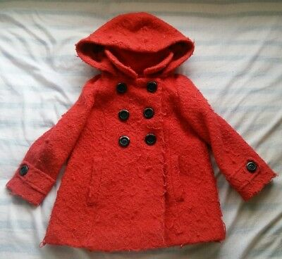 Next girls red hooded coat jacket 3 to 4 year old