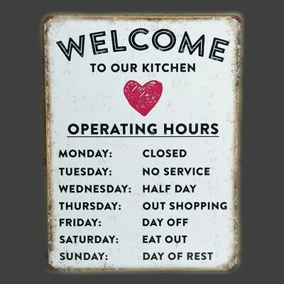 Kitchen Welcome Metal Plaque Vintage Sign Tin Retro Wall Shabby Chic Funny Gift