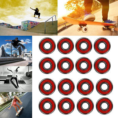 8 Pcs of Skateboard Longboard Bearings ABEC 9 Stainless Red Outdoor Toy Pro
