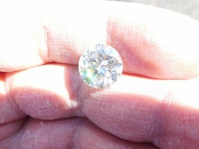 Fiery 3.90 ct Ice White G - H Color Round Loose Moissanite VS1 10.35 mm