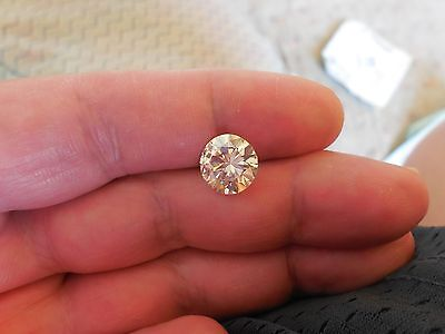 Fiery 4.40 ct Yellow Tint White I-K Color Round Loose Moissanite VVS2 10.65 mm
