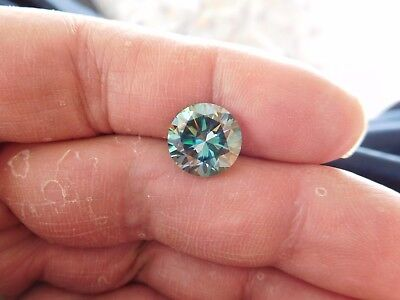 Fiery 4.91 ct Bluish Green Peacock Color Round Loose Moissanite VVS1 11.17 mm