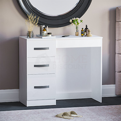 Hulio 3 Drawer Dressing Table High Gloss Computer Makeup Office Desk White