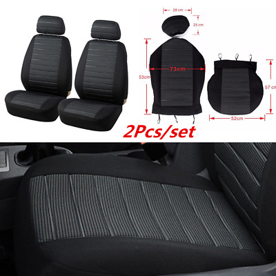 2PCS Universal Auto Car Seat Covers Cushion Full Set Front For Sedans Gray+Black