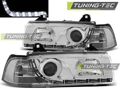 Coppia Fari Anteriori Bmw E36 12.90-08.99 Daylight Chrome Look*2171